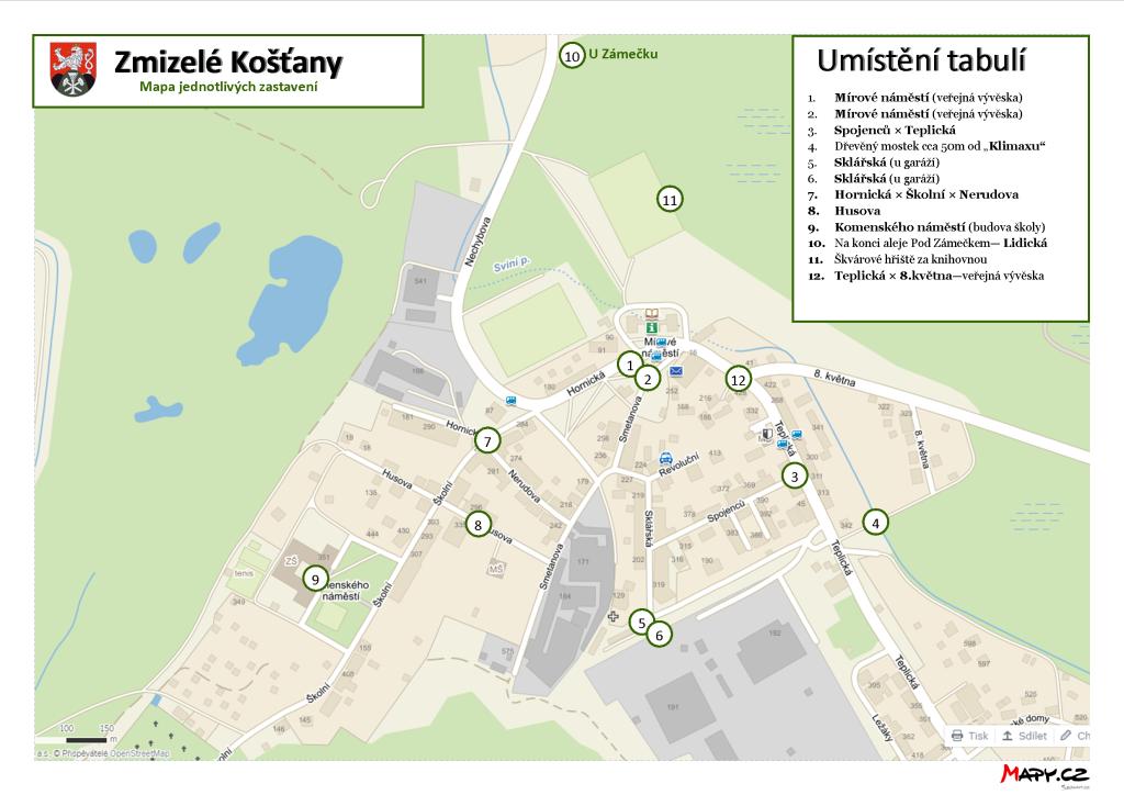 Zmizelé Košťany - mapa